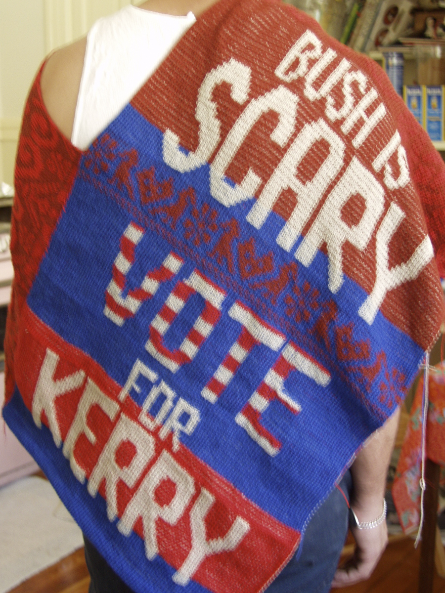 Bush is Scary Vote for Kerry poncho, 2004