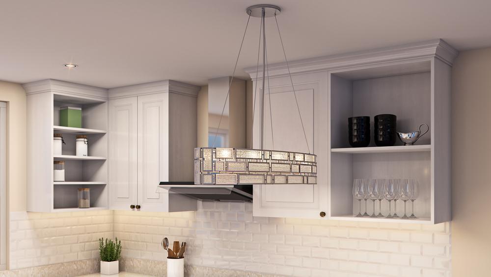 CGI Kitchen Chandelier Lighting Photography
