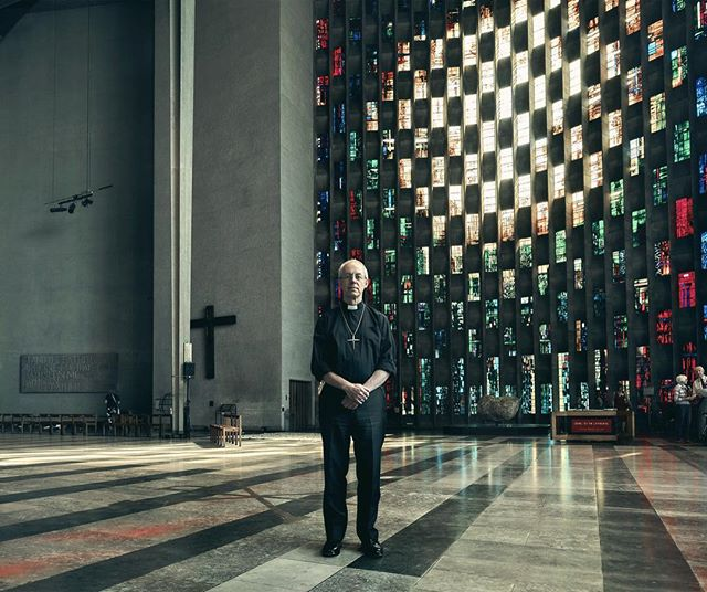 Standing in Coventry Cathedral in front of the baptistry window by John Piper. The Archbishop of Canterbury, Justin Welby, for the Guardian.