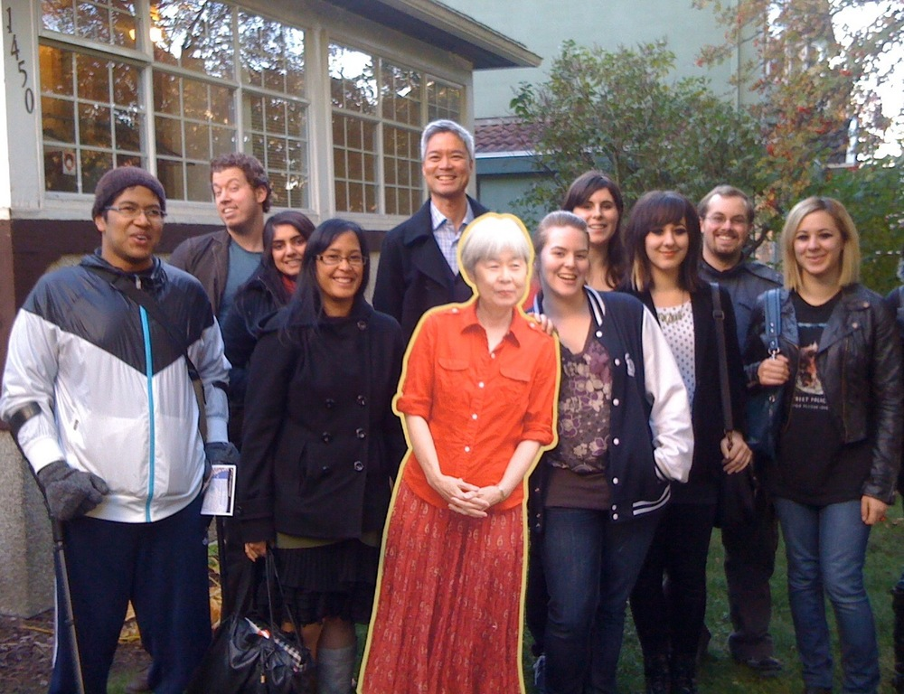 KPU field researchers enjoying the gardens of the Historic Joy Kogawa House with the author herself -- but as a cardboard cutout!