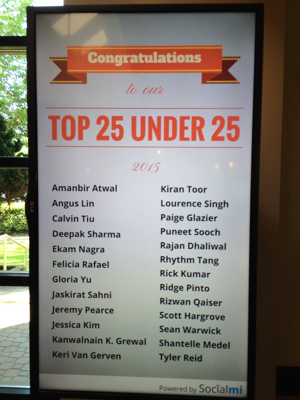 Surrey Board of Trade's Top 25 Under 25 2015