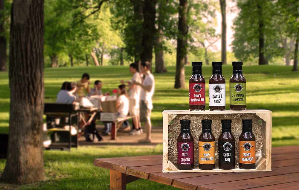 bbq sauce product photo in park