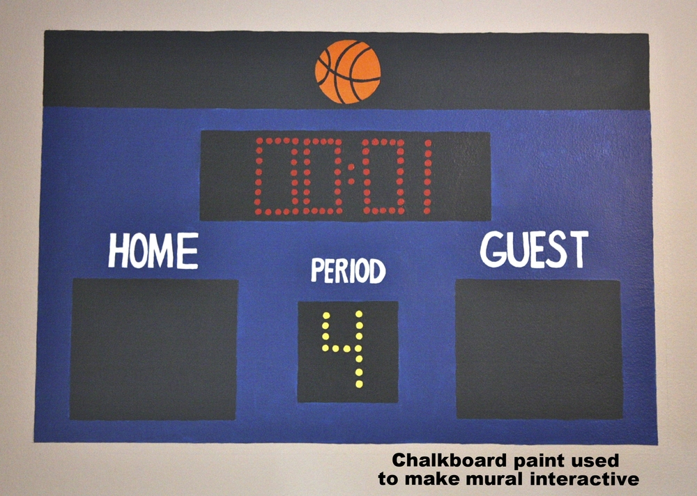 Chalkboard paint used on Home/Away blocks so scoreboard is interactive.