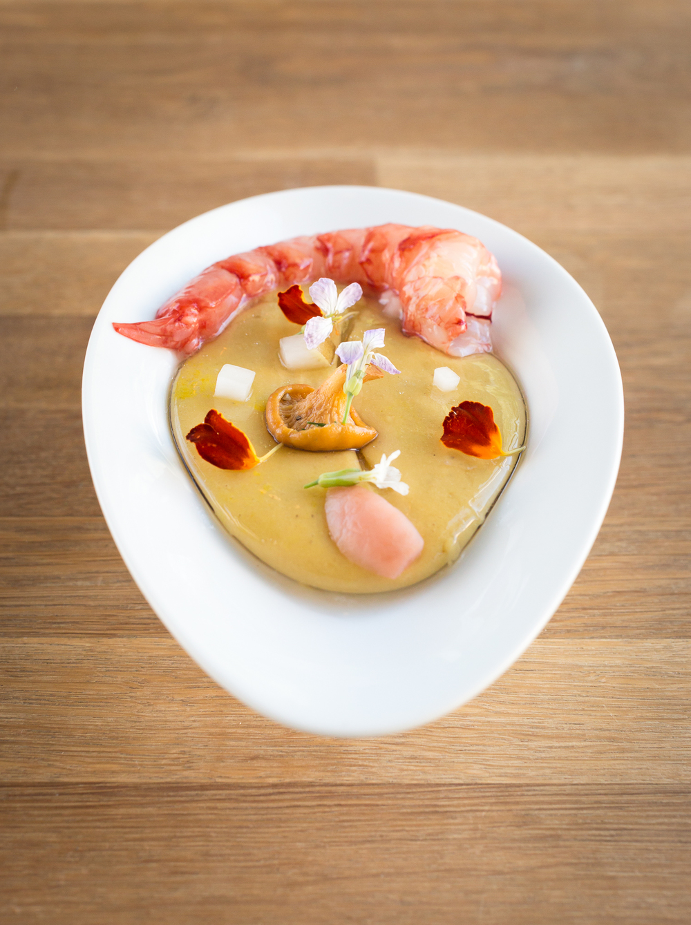 Cultured Buttermilk roasted corn suspended soup with red shrimp