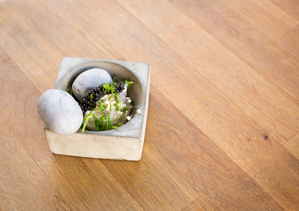 sturgeon caviar fermented new potato/cured lemon/chamomile/living pea