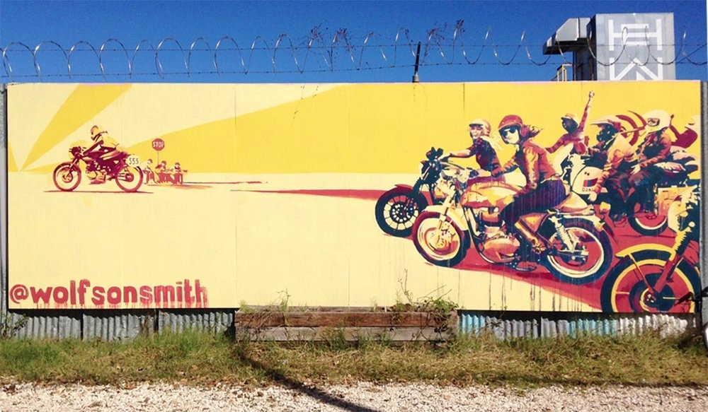 "96"" x 288"" mural, Pump Project Art Complex.Austin, TX. 2016"