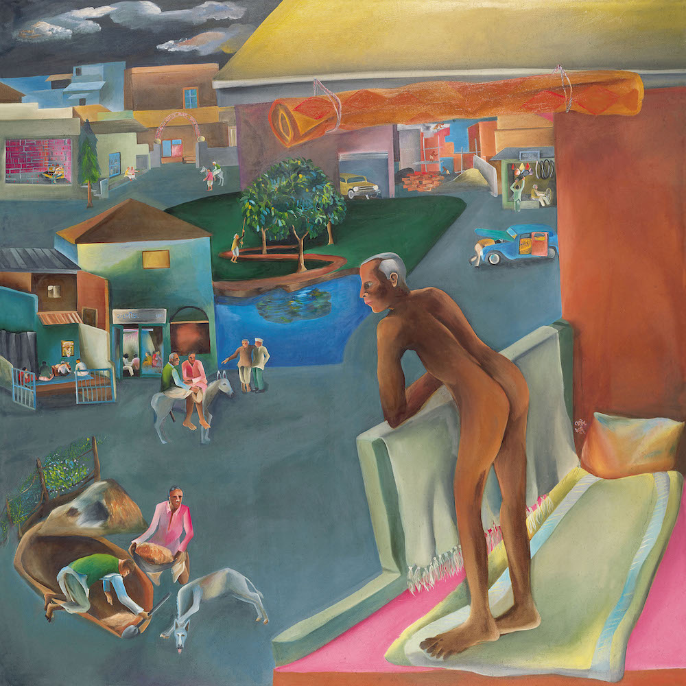 Bhupen Khakhar  You can't please all , 1981 Oil on canvas, 167 x 167 From the Chemould Prescott Road Archives, Mumbai.