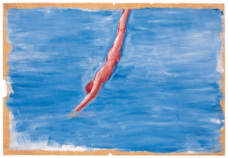 Paul Thek  Untitled (Diver) , 1969-70 synthetic polymer and gesso on newspaper 56.5 x 84.1cm (22 . x 33 3/16 in) © Estate of George Paul Thek, courtesy Alexander and Bonin, New York