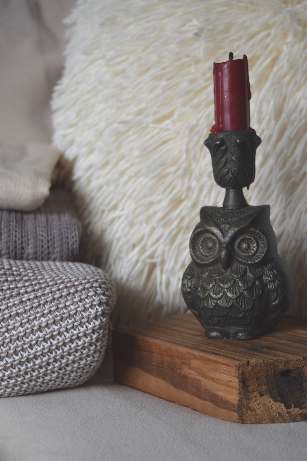 Carole Schopp Interior Decor The Little Notebook Wood Block Owl Candlestick Holder