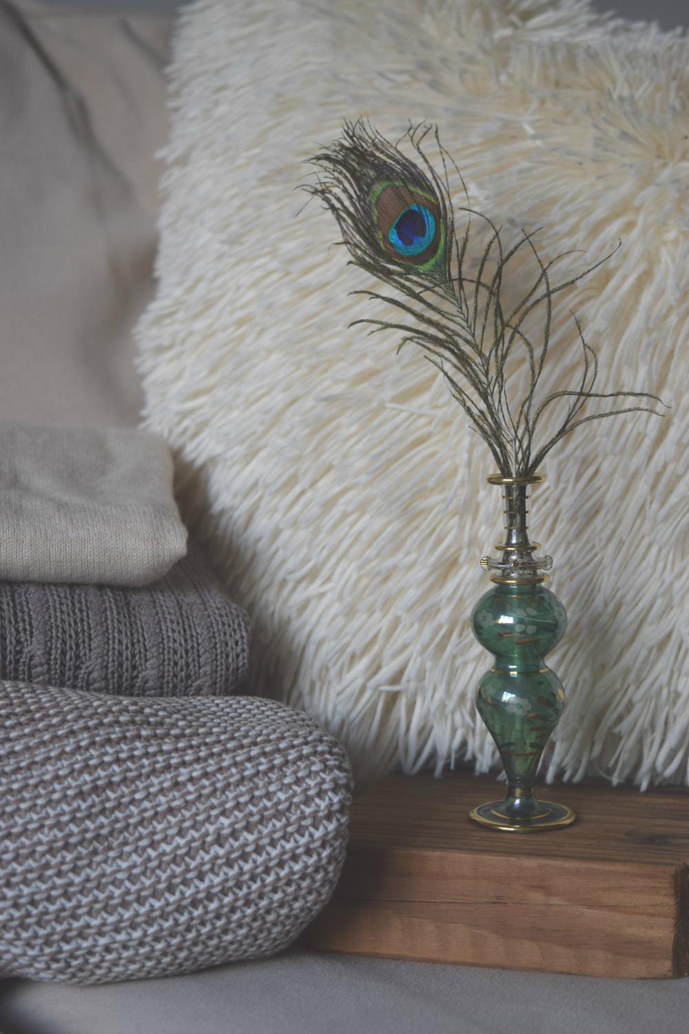 Carole Schopp Interior Decor The Little Notebook Blue Green Bottle Peacock Feather