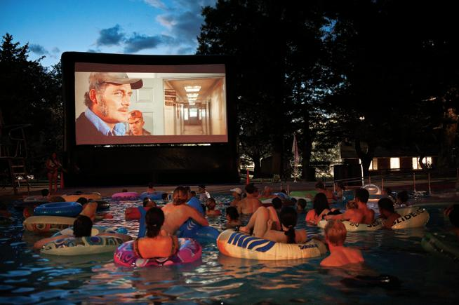 House Party Idea Movie Night Watch Jaws In The Pool