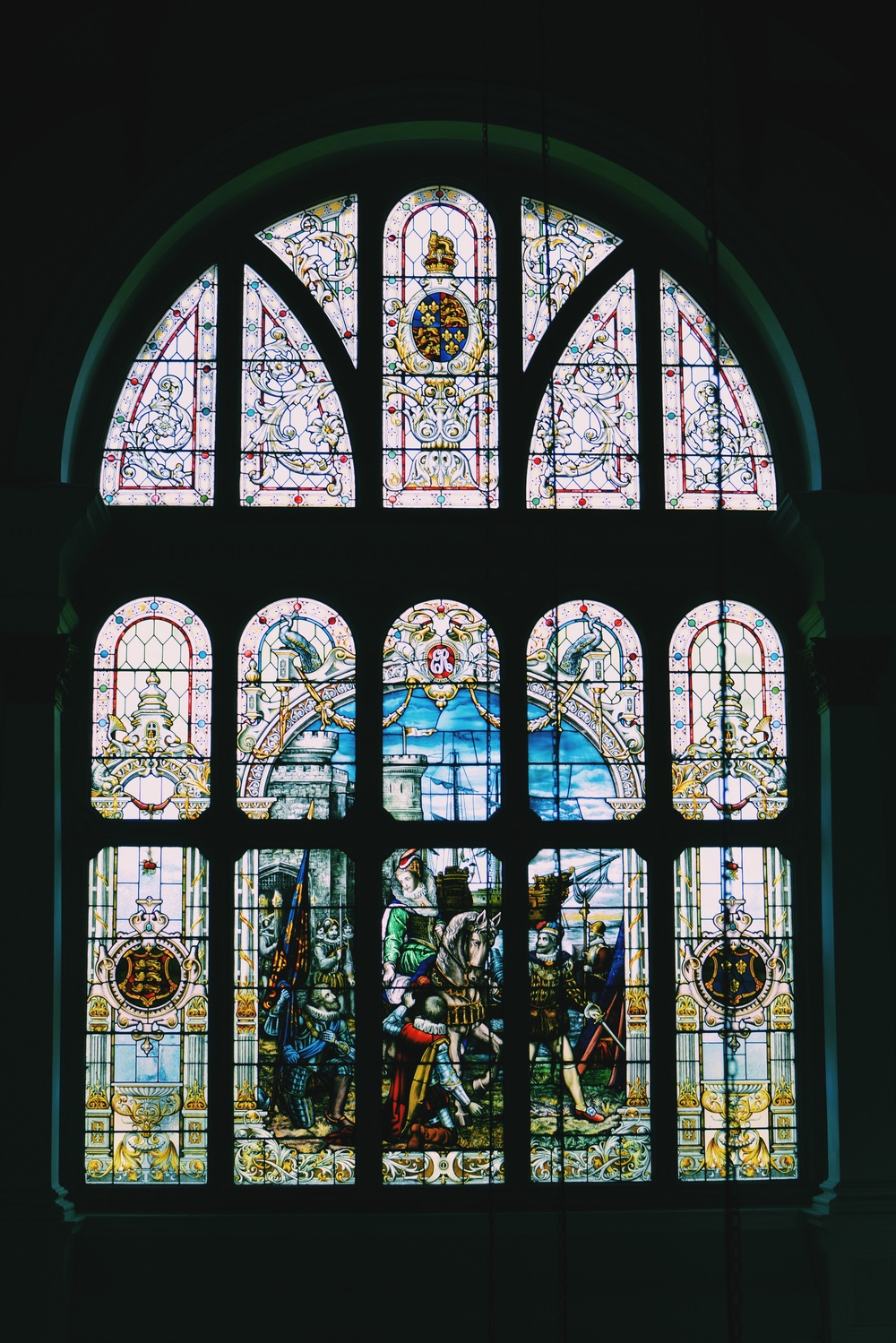 The stained glass window.