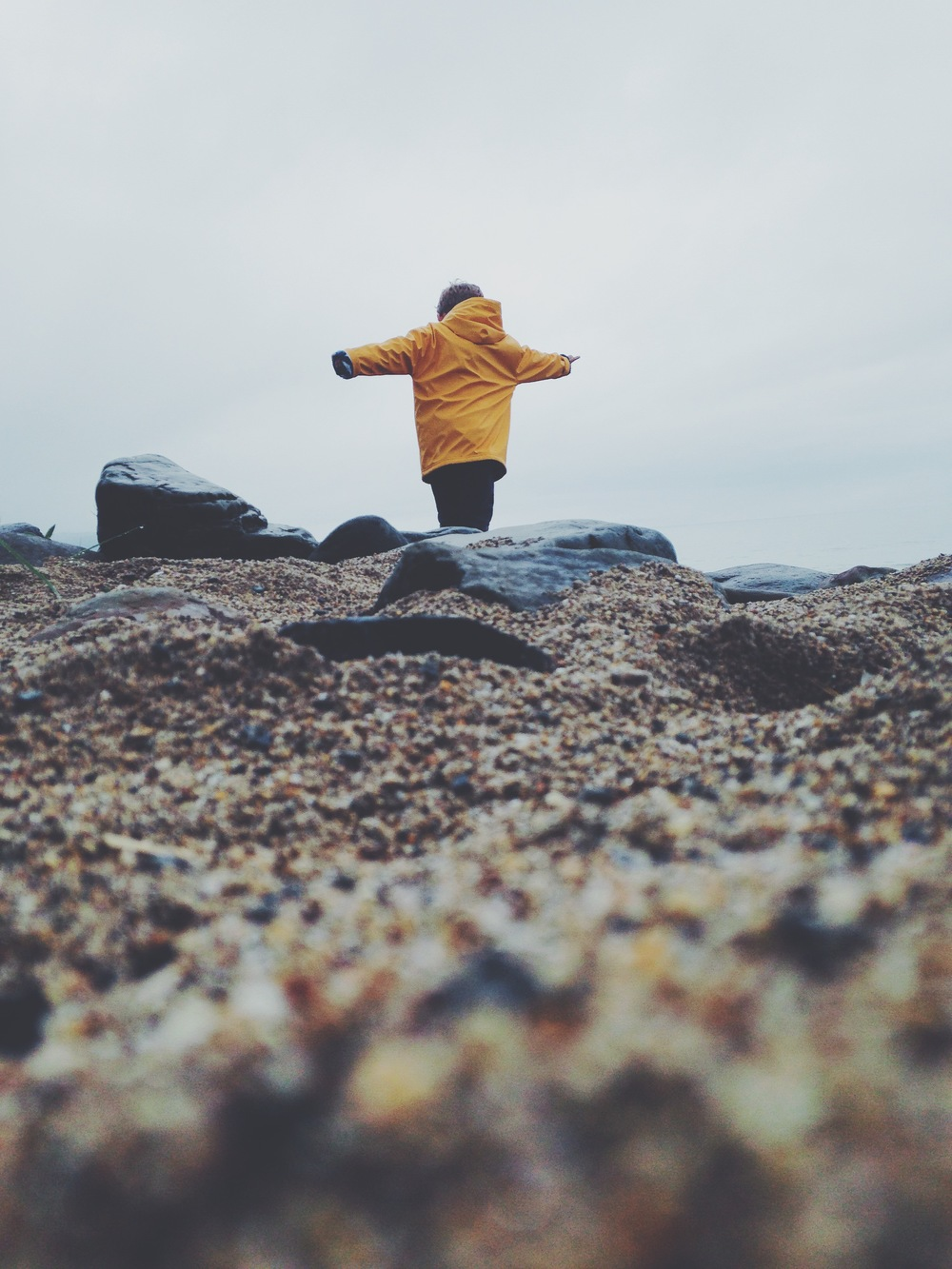 Exploring Penbryn beach.