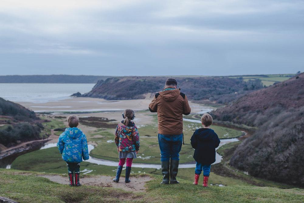 Enjoying the view at Three Cliffs Bay.