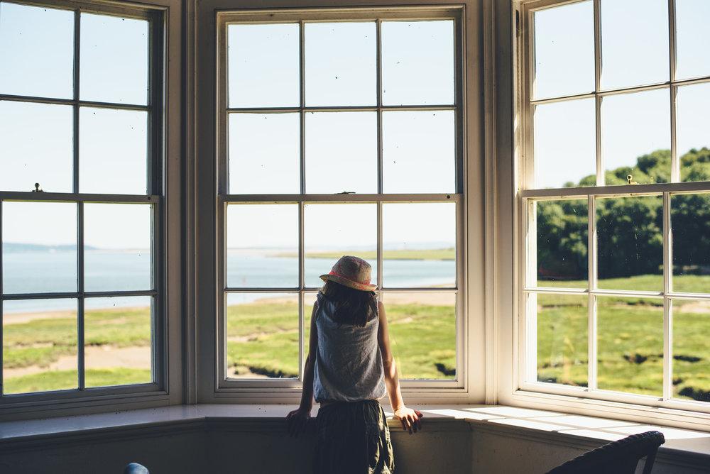 The Summerhouse window in Laugharne Caslte.