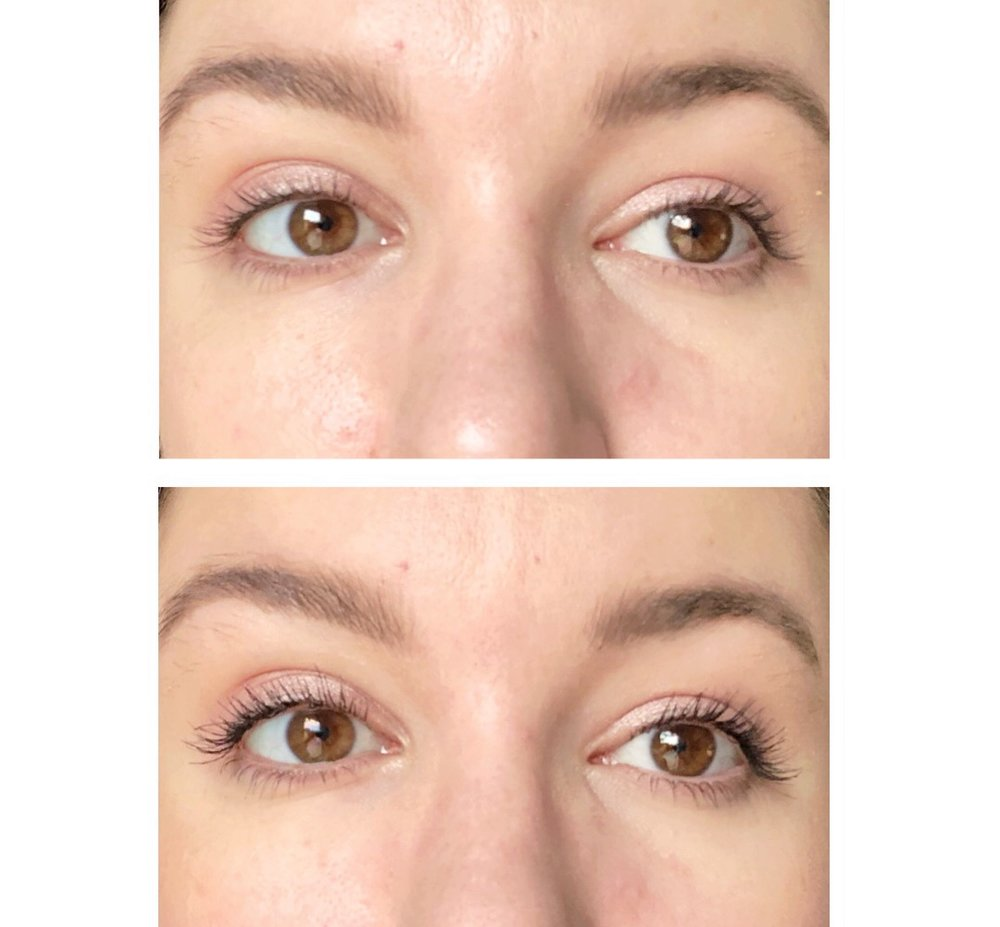 Top: No mascara, Bottom: 2 coats of Glossier Lash Slick