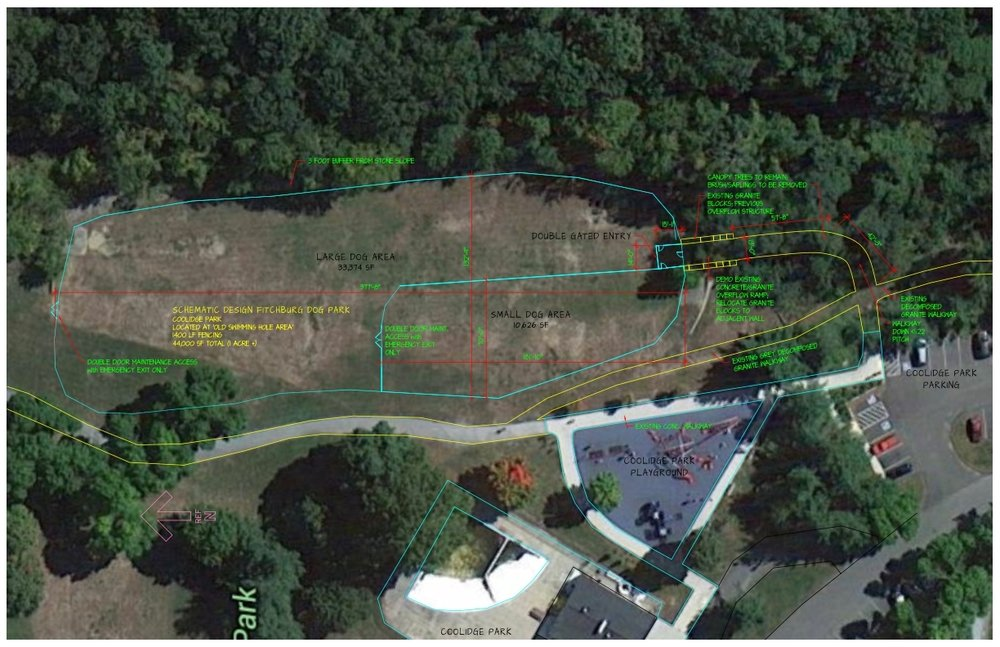 Our current schematic Dog Park design layout as of 8-2016