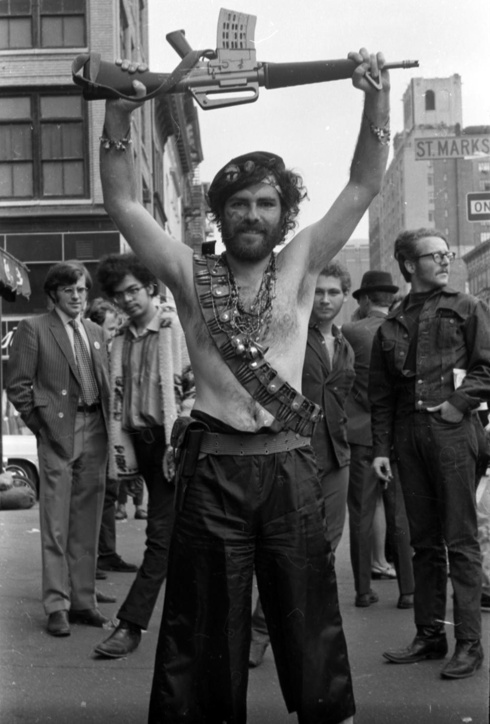 Sixties activist Jerry Rubin on St. Mark's Place. Like Travelerette, he is a fighter.