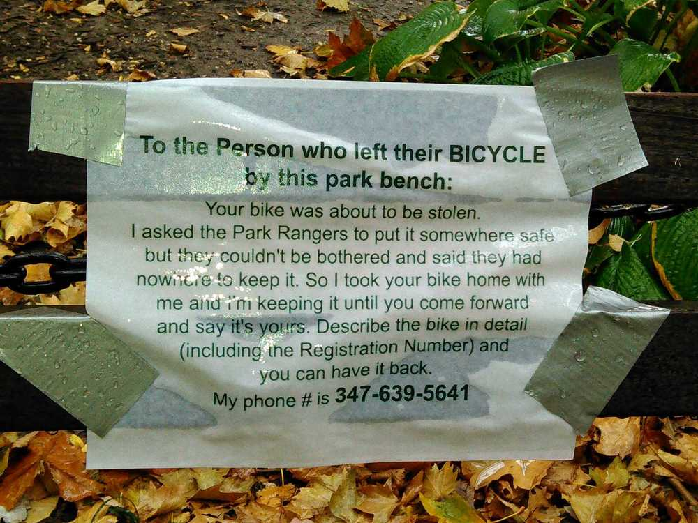 Taped to a bench in Washington Square Park the other day.