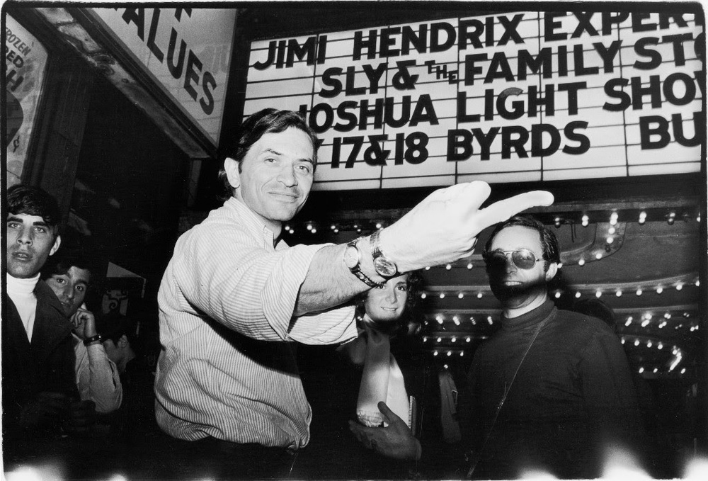 Promoter Bill Graham under Fillmore East marquee, May 11,1968. Photo  © 2016 Estate of Fred W. McDarrah
