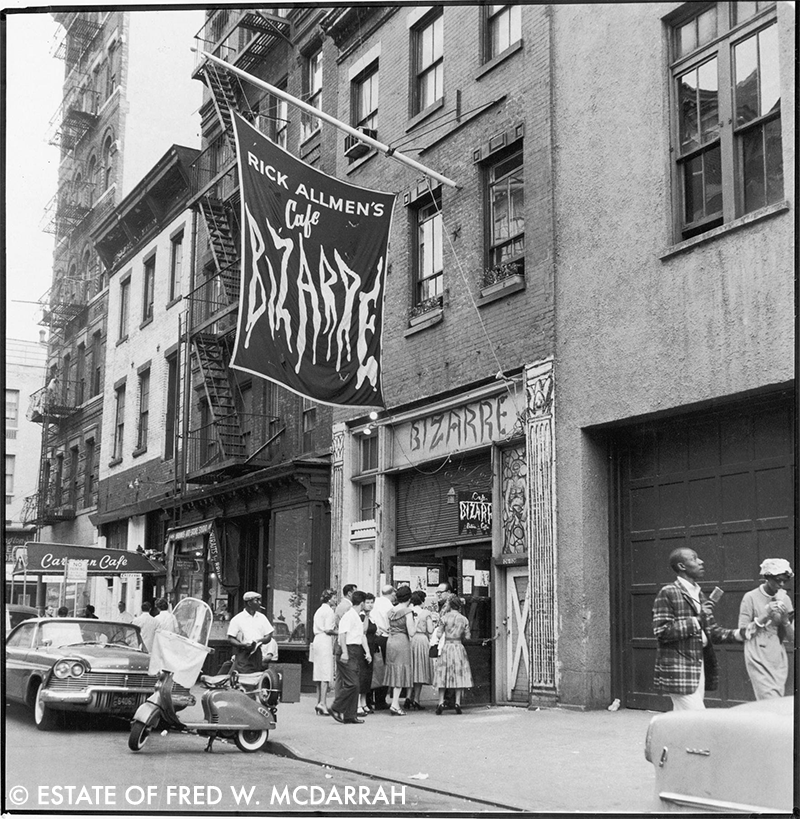 Cafe Bizarre,  106 West 3rd Street , June 7, 1959. In the 1960s the house band was The Velvet Underground. Andy Warhol saw them perform, became their manager, and the rest is history.