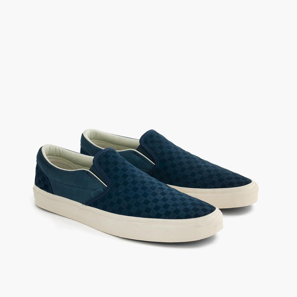 J. Crew x Vans Slip On Embossed Suede Checkerboard
