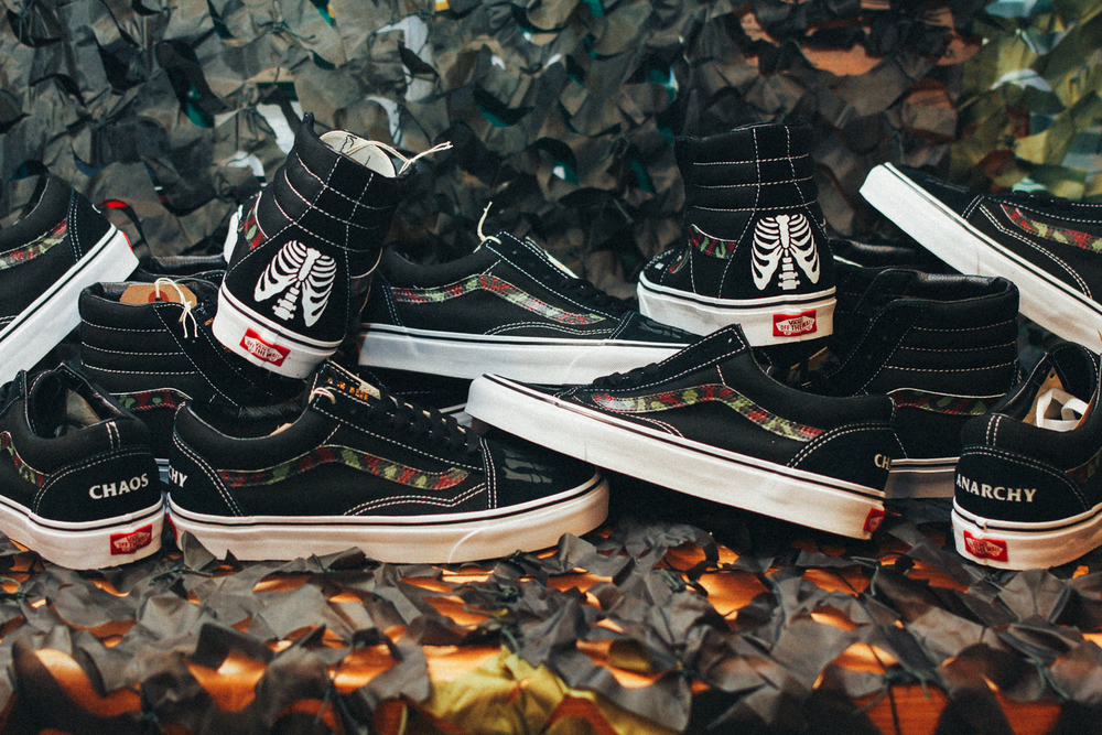 "Custom Vans by SBTG: ""Anarchy & Chaos"" Sk8 Hi and Old Skool for Cover by Crossover"