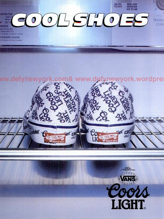 Original ad for the Vans and Coors Light collaboration from the 1990s via DefyNewYork.com