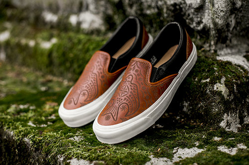 29fcbe320e The OG Slip On LX features an all premium leather upper in both brown and  contrasting black. The brown quarters are expertly etched with Taka s ...