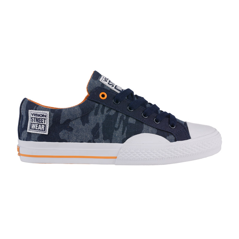 Canvas Low // Camo Blue with Orange