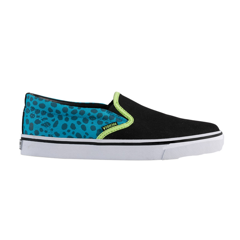 Slip On // Black with Teal Animal Print