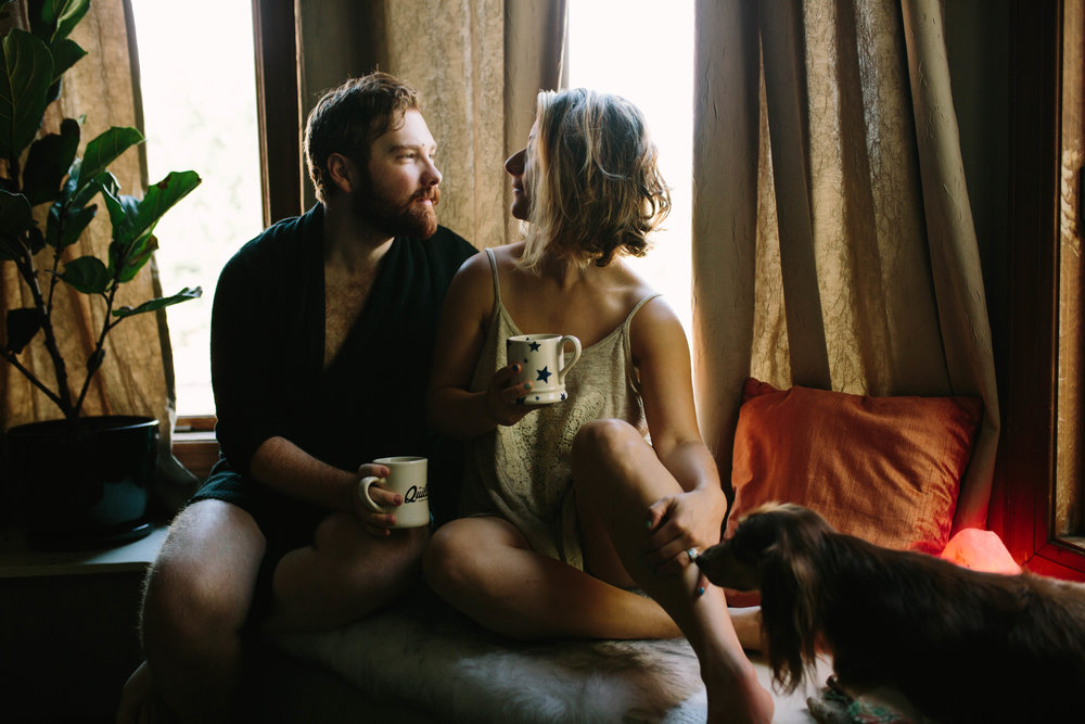 COffee & Couple in-home session, old louisville