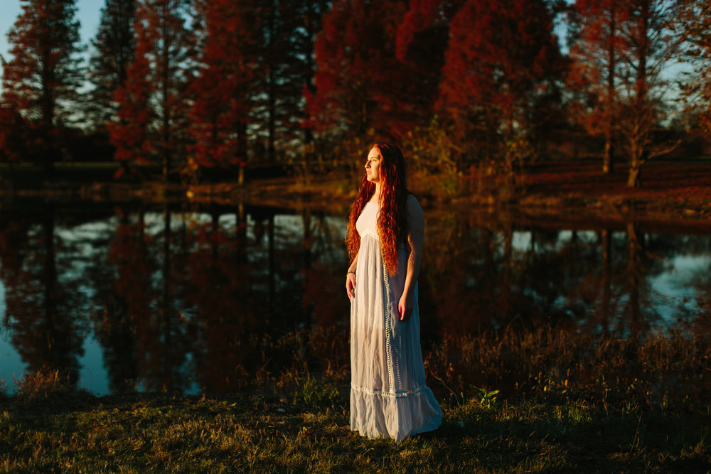 Model/musician autumn photo session at bernheim forest in kentucky