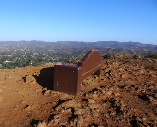 A couple benches at the top of the hill to take in the beautiful views