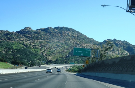 View of Rocky Peak Park from Highway 118 driving eastbound