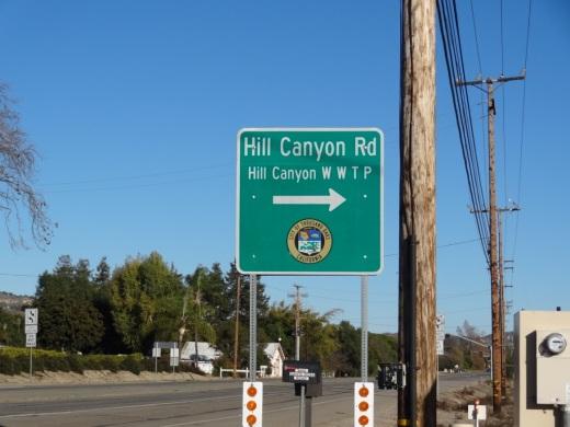 Sign on Santa Rosa Road at Hill Canyon (coming from Camarillo)