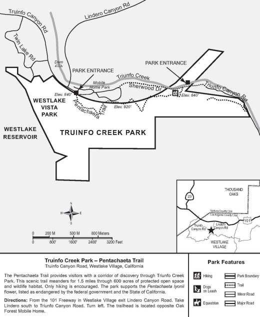Map courtesy of Santa Monica Mountains Conservancy at THIS LINK. (Note that Truinfo is a typo on map; actual spelling is Triunfo.)