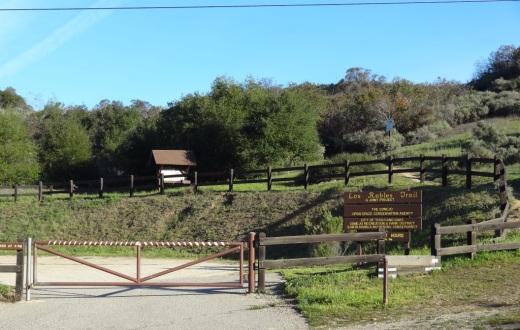 Los Robles Trail trailhead and parking area on Potrero Road in Newbury Park