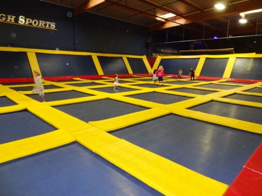 there is quite a large area of trampolines on the floors and walls. There is a separate section geared towards kids too