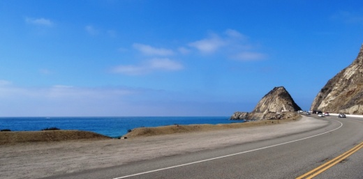 Mugu Rock up ahead, driving north on PCH from Thornhill Broome.