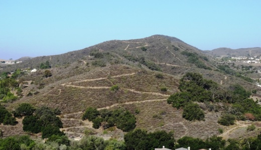 Here's a view of the initial section of the western section of the Potrero Ridge Trail from the Wendy Water Tank section of the trail across Reino Road.