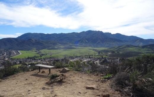 Potrero Ridge Trail bench provide extensive views