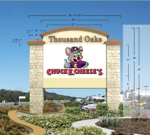 Mock up of 35 foot tall Chuck E. Cheese sign to be erected in place of Thousand Oaks Auto Mall sign.