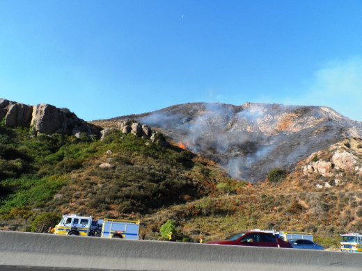 View of the Springs fire from the 101 Freeway northbound around 8:15AM