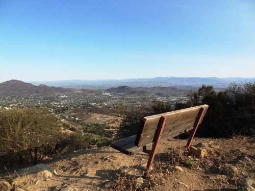A bench with a view at Angel Peak, not to mention a nearby picnic bench.
