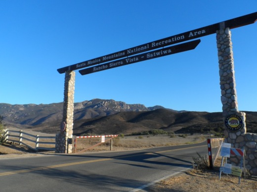 The entrance to Rancho Sierra Vista/Satwiwa at Via Goleta, 1 mile west of Reino Road.