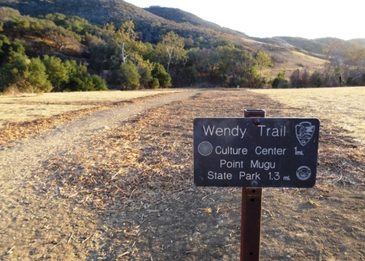 The trailhead where Wendy Road ends at Potrero Road in Newbury Park