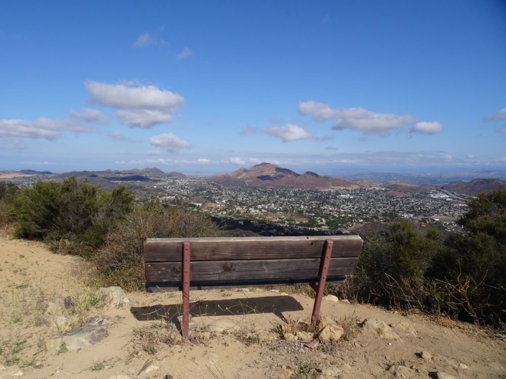 The unforgetable view from the Angel Vista Peak bench, facing towards the Conejo Grade