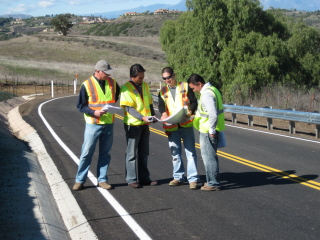 Photo taken by Engineering Manager Tom Pizza. From Left: Construction Manager Chris Gabriel, Project Manager Dan Lazo, Inspector Fernado Perez, Design Engineer Tristan Santos