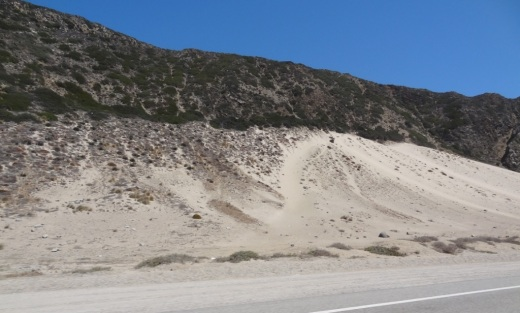 Unusually large sand dune on the east side of PCH across from Thornhill Broome Campground